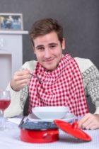 Férfi étkező mellény-piroskockás