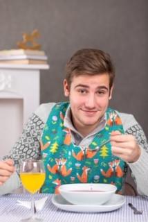 Férfi étkező mellény-előke rókás